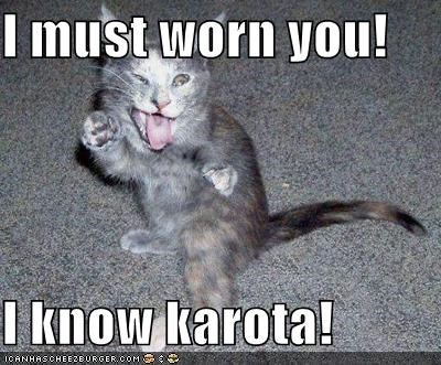 I must worn you!  I know karota!