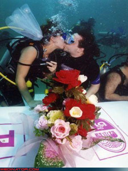 Crazy Brides crazy groom cute couple underwater fashion is my passion funny wedding photos scuba diver wedding scuba wedding soggy wedding cake surprise technical difficulties under the sea wedding underwater wedding were-in-love Wedding Themes