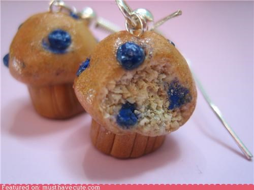 accessory blueberry breakfast earrings Jewelry mini muffins Teeny tiny - 3914444544