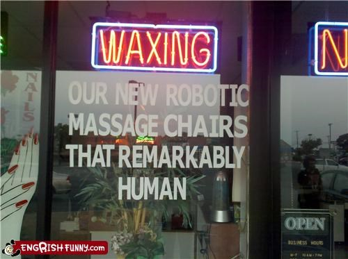 chairs,human,messages,robots,salon,signs