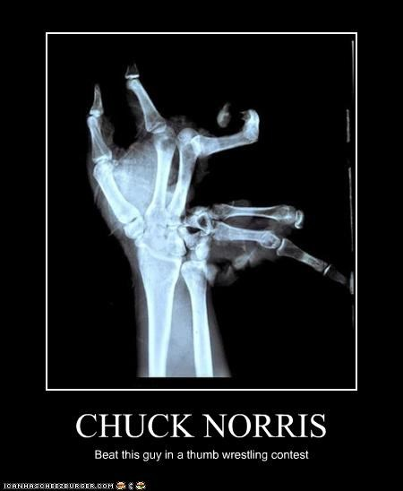 CHUCK NORRIS Beat this guy in a thumb wrestling contest