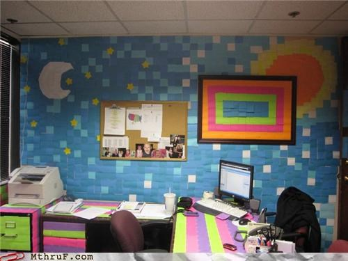 art arts and crafts awesome boredom creativity in the workplace cubicle boredom cubicle prank decoration desk interior design mess moon not van gogh Office pixel art post it post its prank sculpture sun wallpaper wasteful wiseass wrapping