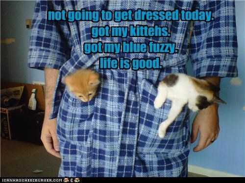 caption flannel happy kitten life is good pockets - 3920356096