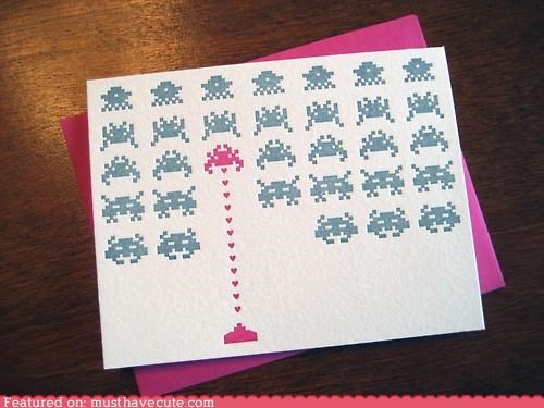 card craft cute-kawaii-stuff geeky Letterpress love nerdy Office space invaders stationary video game