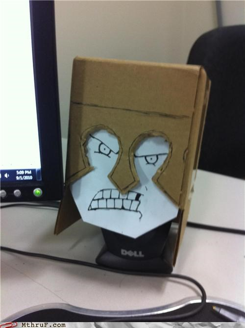 arts and crafts boredom cartoons creativity in the workplace cubicle boredom decoration Dell desk doodle hardware helmet imaginary friend ingenuity lonely sculpture so lonely so ronery tragic arts and crafts wiseass - 3921142528