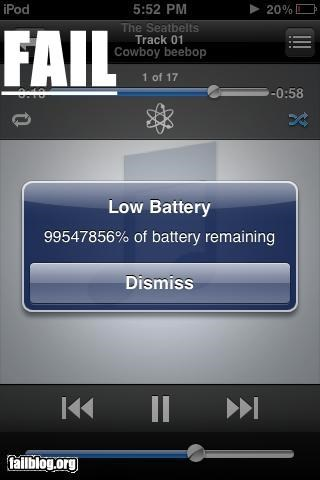 battery,failboat,g rated,impossible,ipod,percentages