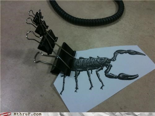 animal art art for lazy boring people binder clips boredom crafty creativity in the workplace cubicle boredom decoration hardware office supplies photocopy scorpion sculpture stinger supplies tail Terrifying - 3922170880