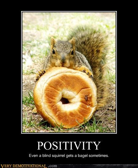 POSITIVITY Even a blind squirrel gets a bagel sometimes.