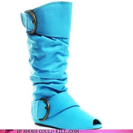 boots,buckles,flat,no socks,peep toe,socks,toe,turquoise,wet socks