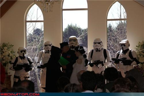 Dark Knight Jedi fashion is my passion funny wedding photos Jedi Knight star wars themed wedding star wars wedding stormtrooper storm troopers groomsmen surprise technical difficulties wedding party Wedding Themes - 3925076480