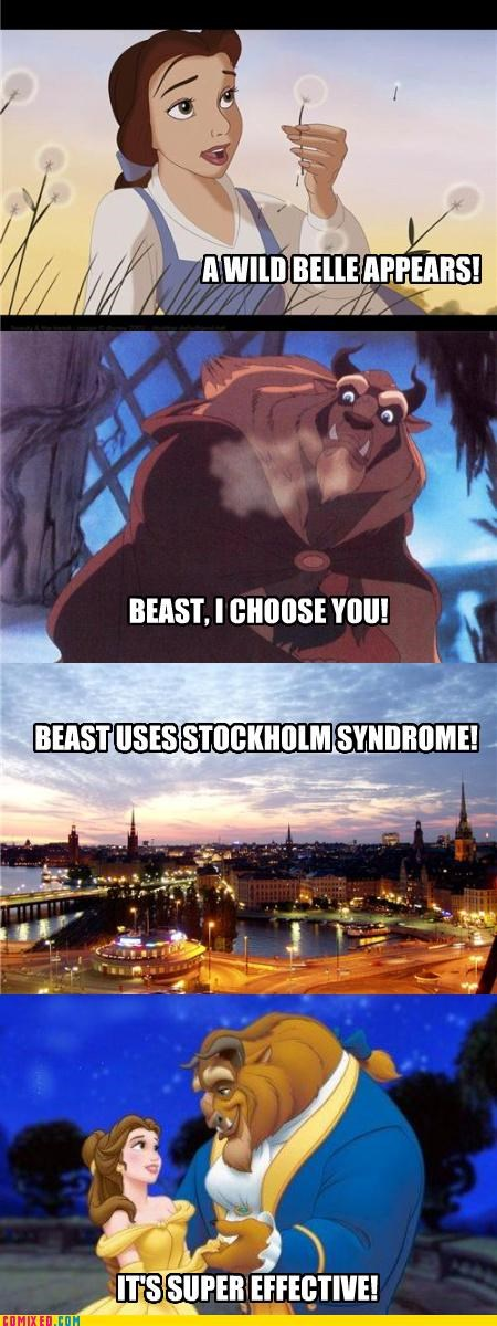 Beauty and the Beast,belle,cartoons,disney,its-very-effective,Pokémon,stockholm syndrom