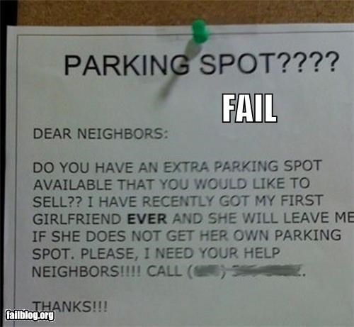 failboat,girlfriend,g rated,parking space,poster,seriously important,sign,wanted