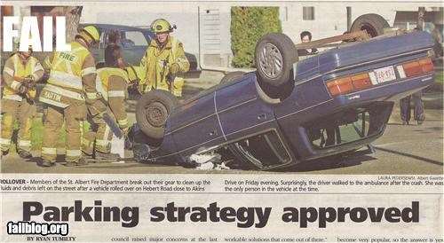 "Headline Placement Fail Newspaper Scan of a photo of an overturned car above the headline ""Parking Strategy Approved"""
