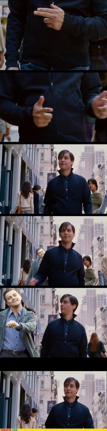 From the Movies Inception leonardo dicaprio movies silly strike a pose toby maguire