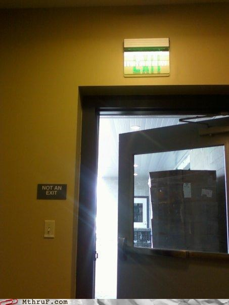 derp door dumb exit redundant signage