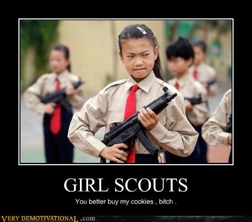 wtf asia girl scouts sub machine guns - 3929590528