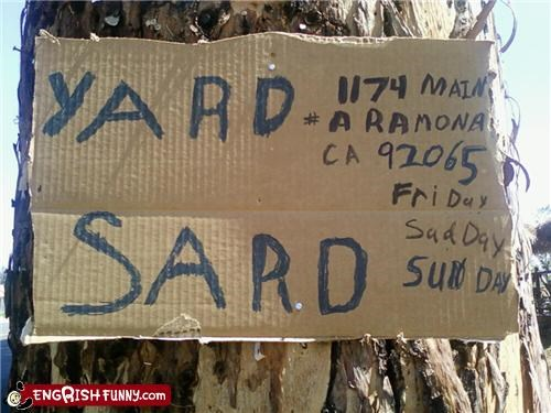 engrish in us homemade sign yard sale - 3932949504
