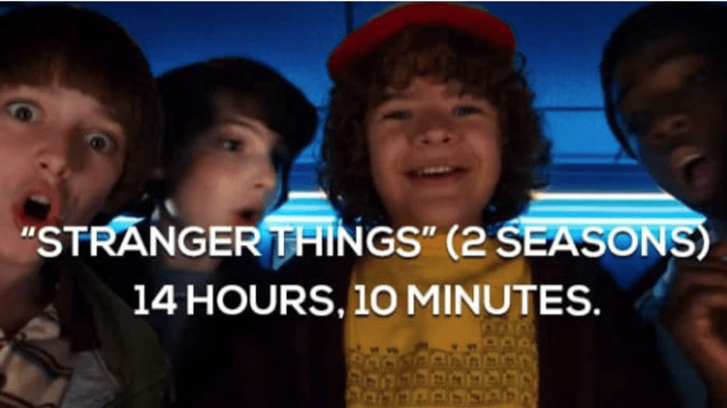 a funny list of tv shows and their running binge time
