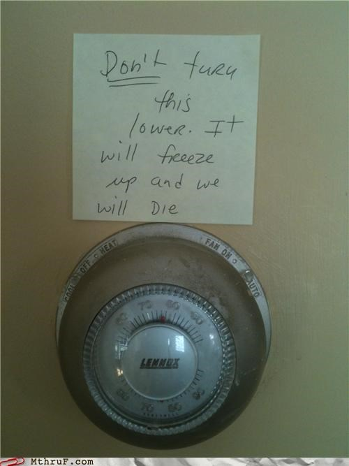 air conditioning awesome co-workers not baby basic instructions beg dickheads hvac nipples note paper signs plea post it Sad temperature thermostat warning whine whiner whiny engineer probably wimp - 3935241216