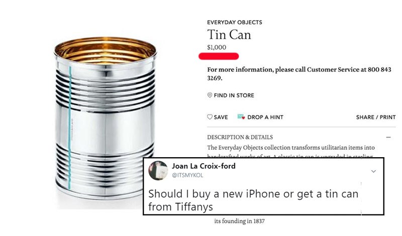 "Funny list of twitter memes about Tiffany's tin can, paper cup, party hat, line of goods that are expensive called ""Everyday Objects."""