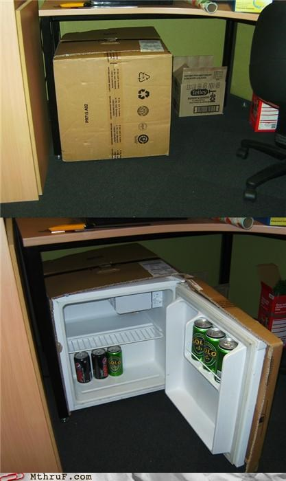 awesome basic instructions beer best boredom box cardboard clever creativity in the workplace cubicle boredom cubicle drunks cubicle prank drink the beer drunk drunks fridge hardware hidden ingenuity lazy office kitchen sneaky stealth stealth booze upgrade wiseass work smarter not harder