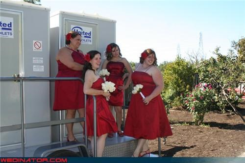 bridesmaids,confusing,eww,fashion is my passion,funny bridesmaid picture,funny wedding photos,interesting photo shoot,port a potty,pose-a-potty,red hot,tacky,wedding party,wtf