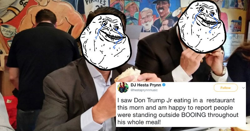 Someone saw Donald Trump Jr. get booed while eating his lunch and people react with pure joy on Twitter.