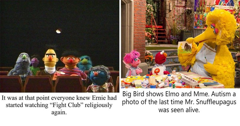 Funny, dark and twisted Sesame Street memes about Bert and Ernie, Elmo, Big Bird, Cookie Monster.