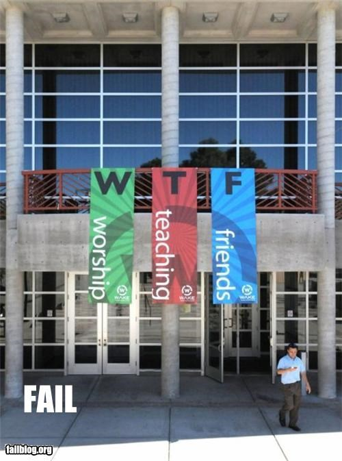 acronyms,banners,church,failboat