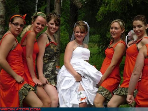 bridesmaids,camo bridesmaids,camo dresses,Crazy Brides,fashion is my passion,funny bridesmaids picture,funny wedding photos,orange-n-camo,redneck,surprise,ugly bridesmaid dresses,wedding party,white trash wedding,wtf