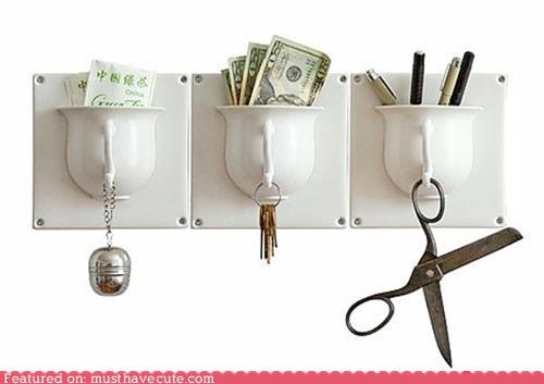 ceramic cup hooks organize storage tile wall