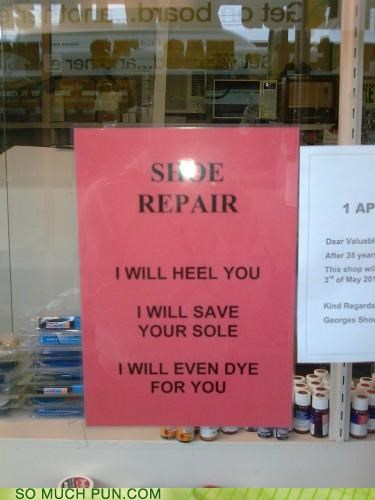 healing puns repair shoes sign