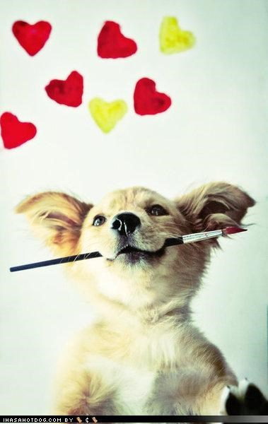 cute,happiness,happy,hearts,paintbrush,painting,tuesday,whatbreed