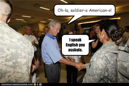 funny,george w bush,lolz,military,president,republican,soldier