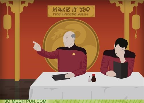 chinese food jean-luc picard puns Riker Star Trek TNG - 3945880320