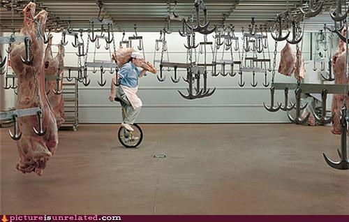 butcher,good idea,odd,unicycle,wtf