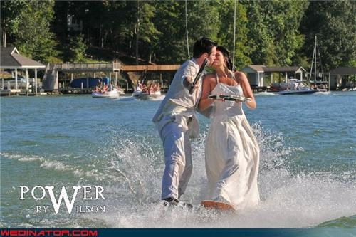 confusing Crazy Brides crazy groom daredevils fashion is my passion funny bride photo funny groom photo funny wedding photos romantic surprise technical difficulties water skiing wedding were-in-love Wedding Themes wedterskiing wet wedding wtf wtf is this