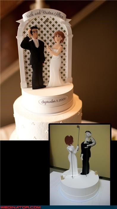 awesome cake topper,bride,cake topper,elin nordegren,funny cake topper,funny wedding photos,groom,mechanical cake topper,paper cake topper,surprise,technical difficulties,Wedding Themes