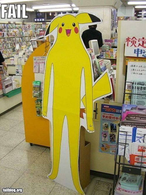 cardboard stand-up,creepy,failboat,g rated,pikachu,Pokémon