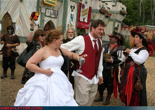 bride costumed wedding party Crazy Brides crazy groom fashion is my passion funny wedding photos groom renaissance faire Renaissance Faire themed wedding Renaissance Faire wedding themed wedding traditional wedding turkey leg buffet were-in-love wedding party Wedding Themes - 3948926720