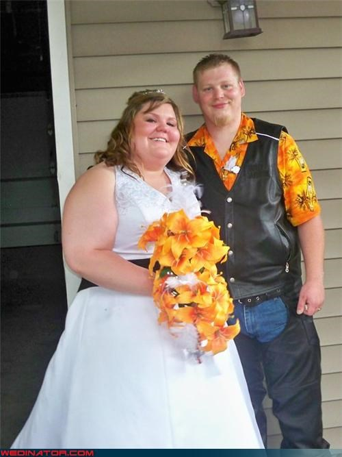 bride chaps cowboy groom crazy groom eww fashion is my passion funny wedding photos groom in leather groom vest matchy matchy so happy together tacky tacky groom were-in-love Wedding Themes white trash wedding wtf wtf is this