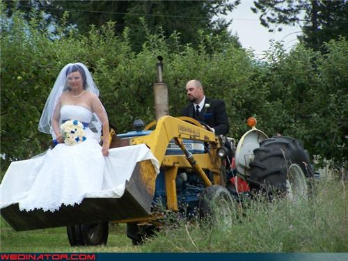 bride of a farmer,bride riding a dozer,brides-grand-entrance,Crazy Brides,crazy groom,crazy wedding entrance,Dozer,fashion is my passion,funny wedding photos,groom driving a dozer,groom tractor,were-in-love,Wedding Themes,wtf