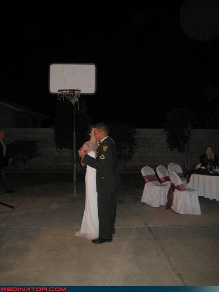 athletic wedding,basketball wedding,bride,bride-vs-groom,busted basketball hoop,funny wedding photos,groom,one-on-one,were-in-love