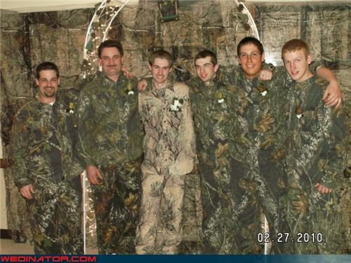 camo,camo groom,camo groomsmen,camouflage,crazy groom,fashion is my passion,funny wedding photos,Groomsmen,hunting groom,redneck,terrible groom outfit,trashy,wedding party,Wedding Themes,white trash wedding,wtf