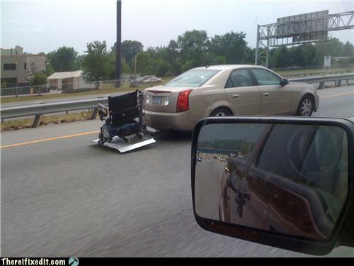 dangerous freeway wheelchair who needs a trailer - 3952286976