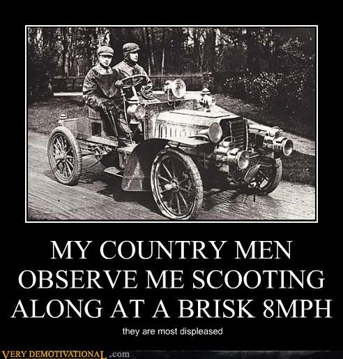 MY COUNTRY MEN OBSERVE ME SCOOTING ALONG AT A BRISK 8MPH they are most displeased