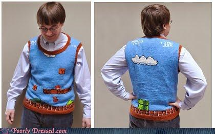 mario mating nerd sweater vest