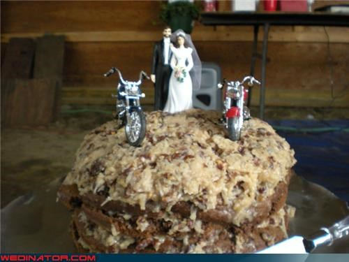biker wedding cake,burnt rubber wedding cake,Dreamcake,eww,funny wedding photos,german chocolate wedding cake,gross looking wedding cake,homemade wedding cake,motorcycle cake toppers,surprise,weird wedding cake