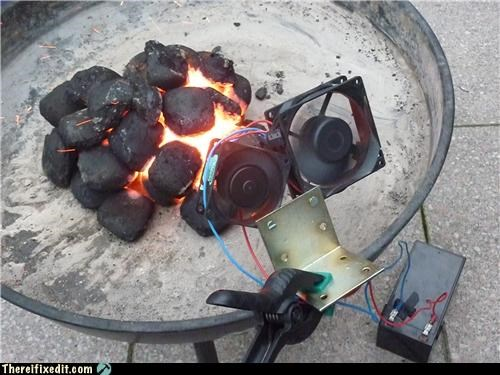 camping coal computer parts fan fire