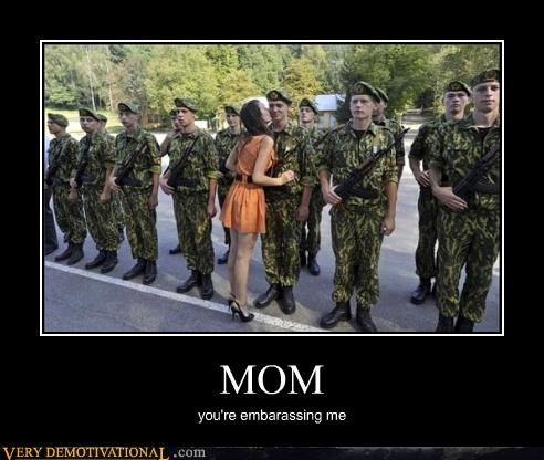 affection embarrassment just-kidding-relax kisses milf mom soldiers